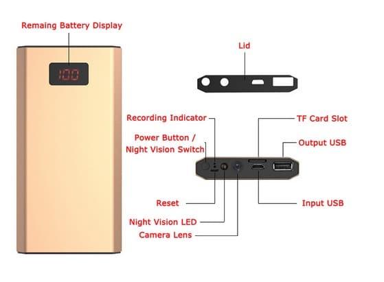 Camera IP Wifi Ngụy Trang Pin Sạc Dự Phòng M5 Xem Từ Xa Qua Điện Thoại